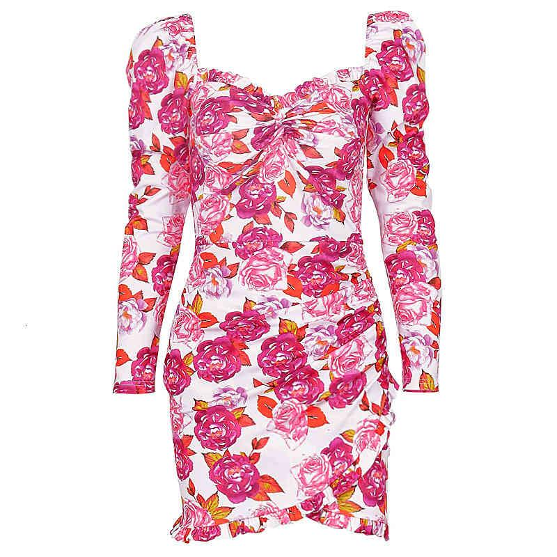 Shestyle Rose Flower Print Старинные нерегулярные платья женщины SQARE шеи Bodycon с длинным рукавом Chic Streetwear Braw Party Mini Pressesfree доставка