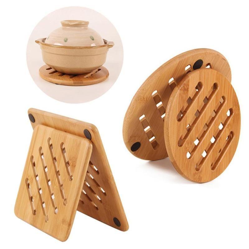 Mats almofadas de bambu trivet não-deslizamento resistente ao calor Potenciômetro de potenciômetro Tabela de mesa