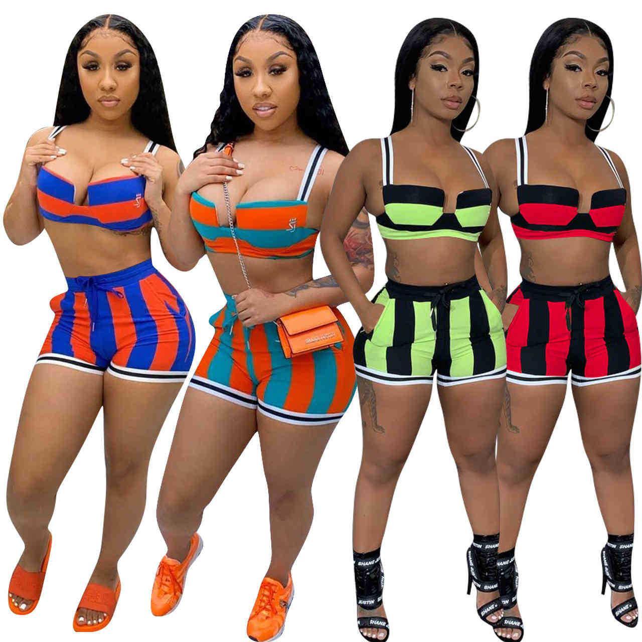 Yaz Kadın Eşofman Kolsuz Sling Yelek + Şort Renkli Çizgili Iki Parçalı Setleri Yoga Kıyafetler Spor Giyim Artı Boyutu