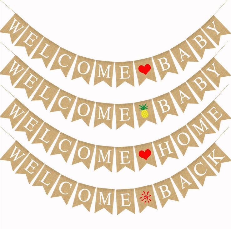 Bienvenido Hogar Baby Burlap Banner Bander Bandera Embarazo Revela Po Prop para la decoración de la decoración de la fiesta del feliz cumpleaños de los niños