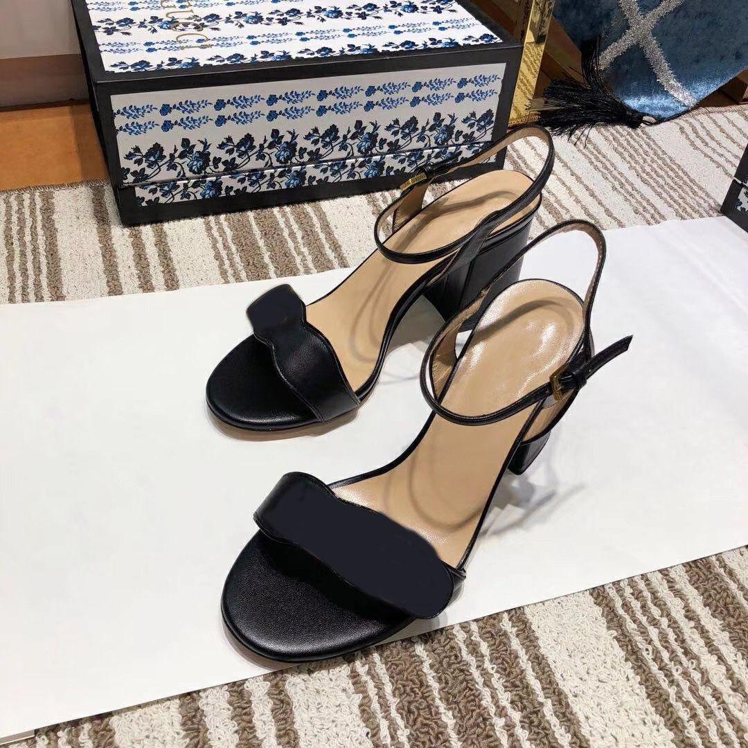 Kadınlar Yüksek Topuklu Deri Sandalet Orta Topuk Sandalet Çift Metal Bayan Yaz Parti Elbise Düğün Ayakkabı Seksi Ayakkabı 8 Renkler