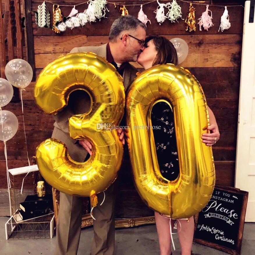 32 pulgadas grande Número globos de lámina 0-9 Cumpleaños boda compromiso cumpleaños boda fiesta decoración niños bola suministros dhl