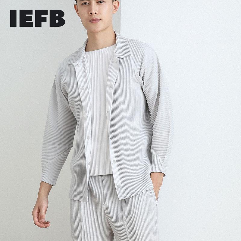 DOWN Veste IEFB / Plissionné Vêtements pour hommes 2021 Nouveau Roule à poitrine unique à la poitrine à poitrine simple matcho-match Japonais manteau de mode Batwing Sleeve Y3832
