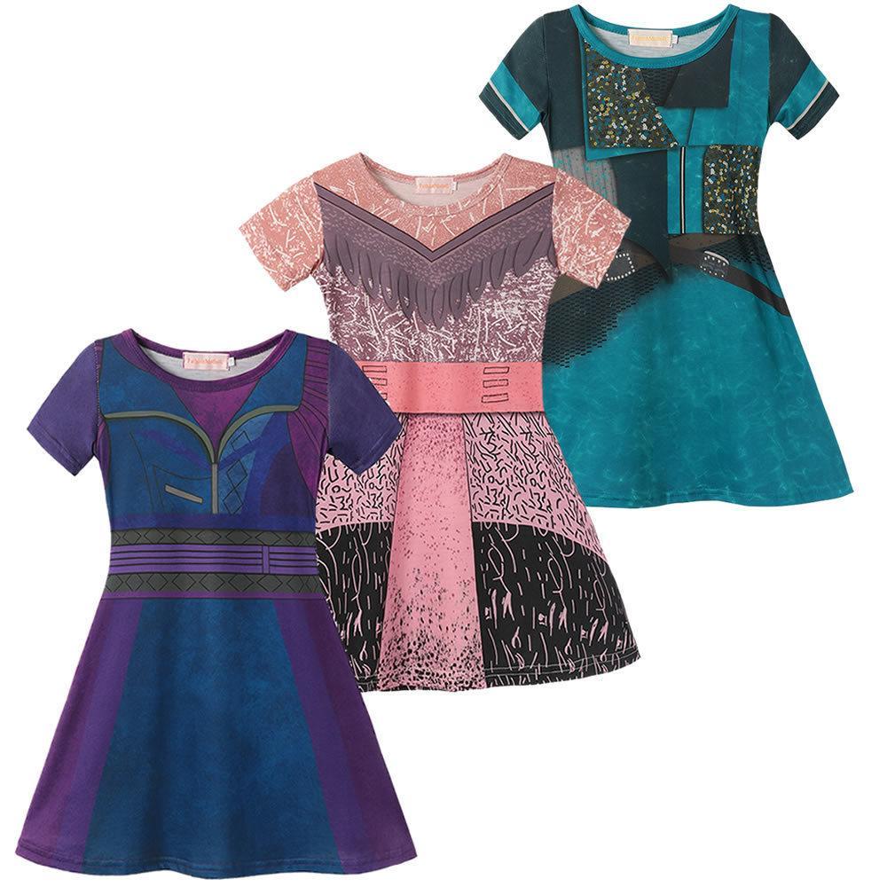 Discendenti 3 Mal Dress For Girl Halloween Party Audrey Cosplay Bambini UMA Gioco di ruolo Costumi 3D Stampa Pattern Bambini Vestiti T200624