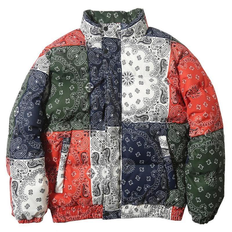 패딩 된 자켓 남자 파카 빈티지 컬러 블록 패치 워크 코트 따뜻한 겨울 윈드 브레이커 Streetwear 힙합 남자의 아래로 파카