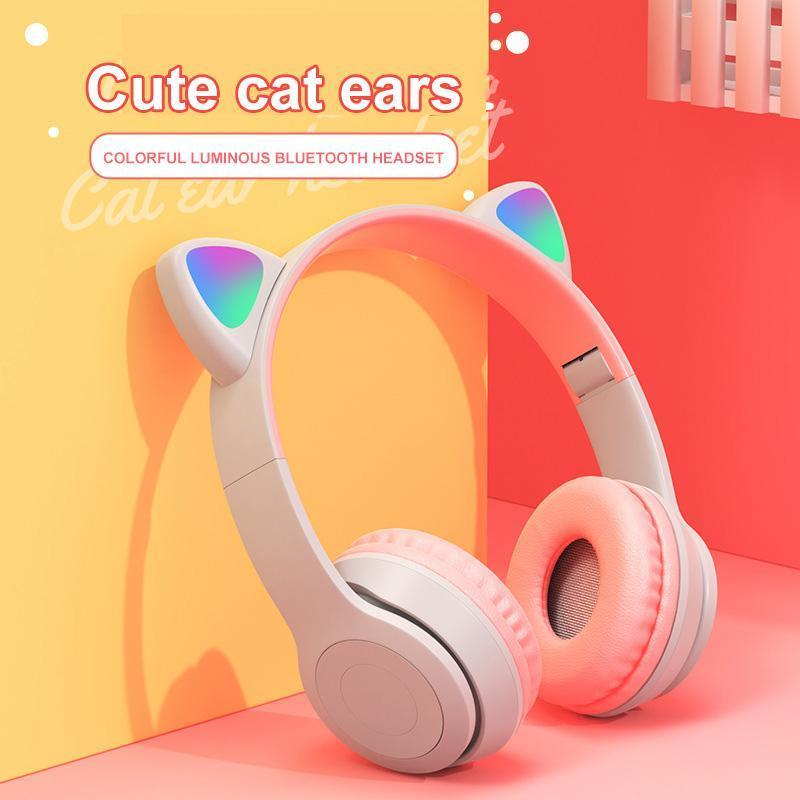 & MP4 Players Wireless Headphones Bluetooth Headset Cute Cat Ear Earphone Stereo Foldable Microphone MP3 Player