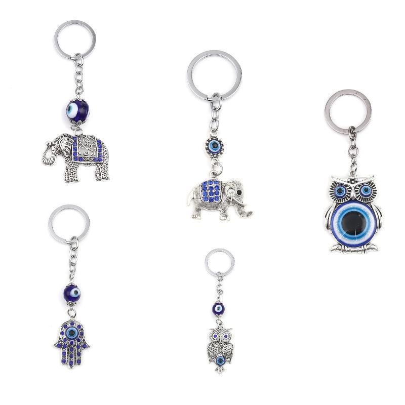 Schlüsselanhänger Vintage Hamsa Symbol Hand Evil Eye Religiöse Keychain Silber Farbe Dunkelblaue Strass Schlüsselanhänger, 1 Stück