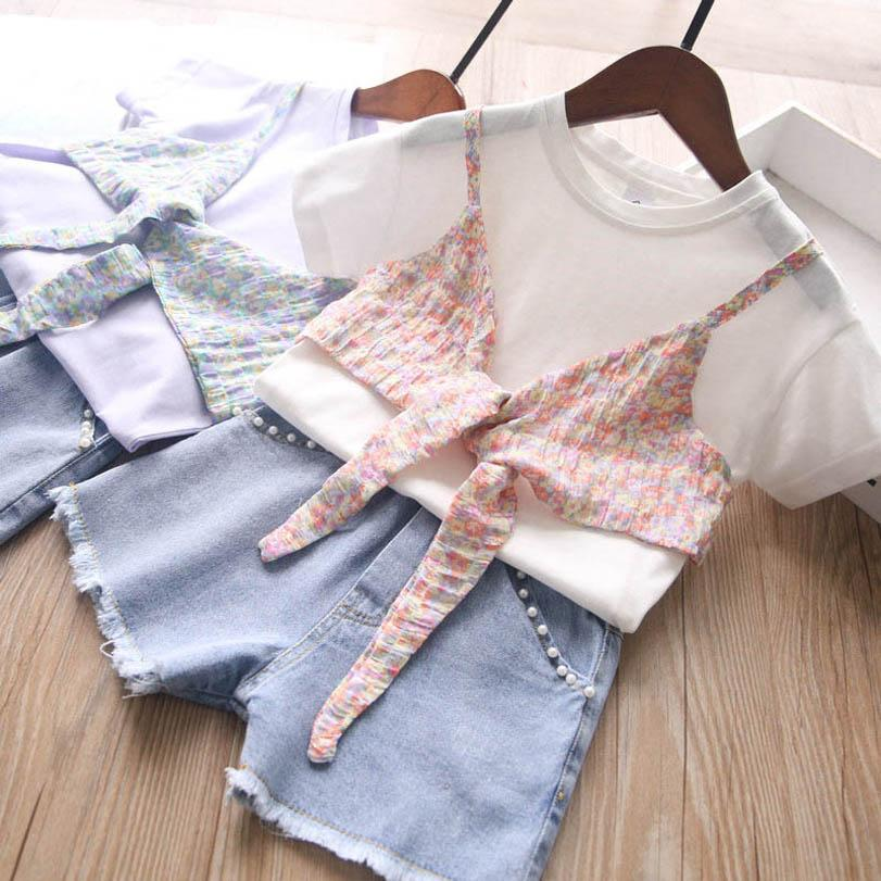 Clothing Sets Girls Outfits Baby Clothes Children Suits Kids Wear Summer Cotton Short Sleeve T Shirt Denim Pearl Shorts 2pcs 2-6Y B4482