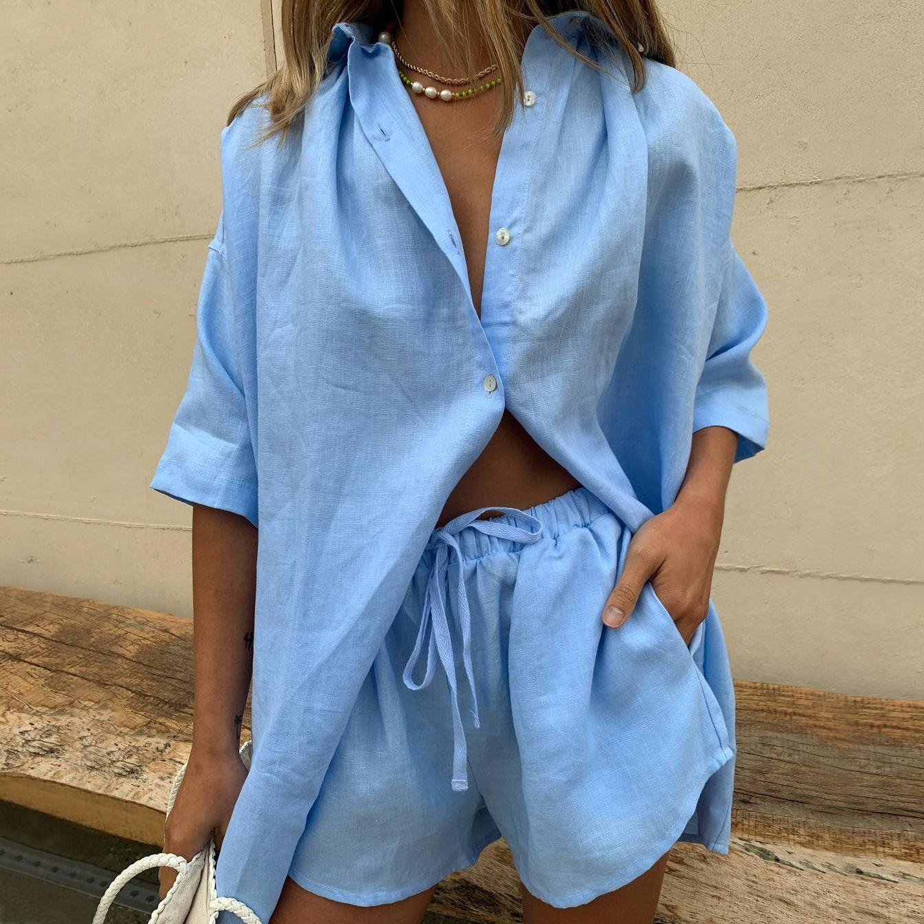2021 Women's Two Piece Pants Solid Color Single-Breasted Short-Sleeved Shirt Shorts Loose Fashion Casual Suit