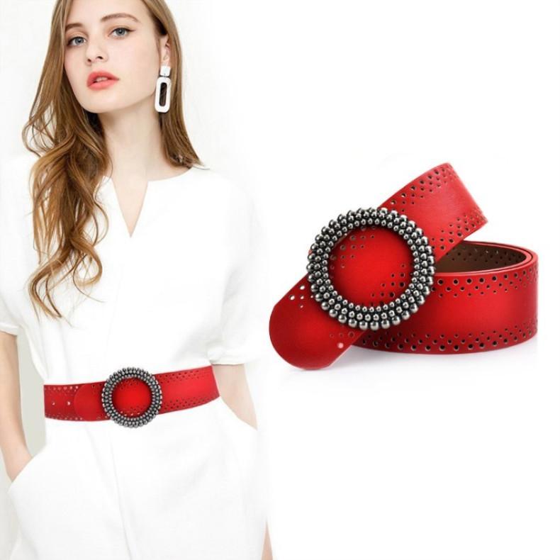 Cinturón para mujer Moda Hebilla suave Hollow Out Diseño Cinturones para mujer Ancho de cuero genuino 4.8cm 2 Color opcional