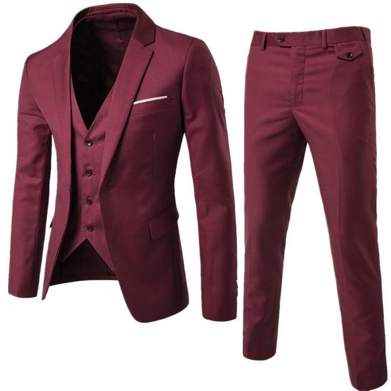 Men's Suits & Blazers Burgundy Suit Groom Wear Tuxedos 3 Piece Wedding Groomsmen Man Formal Business For Men (Jacket+Pant +vest)