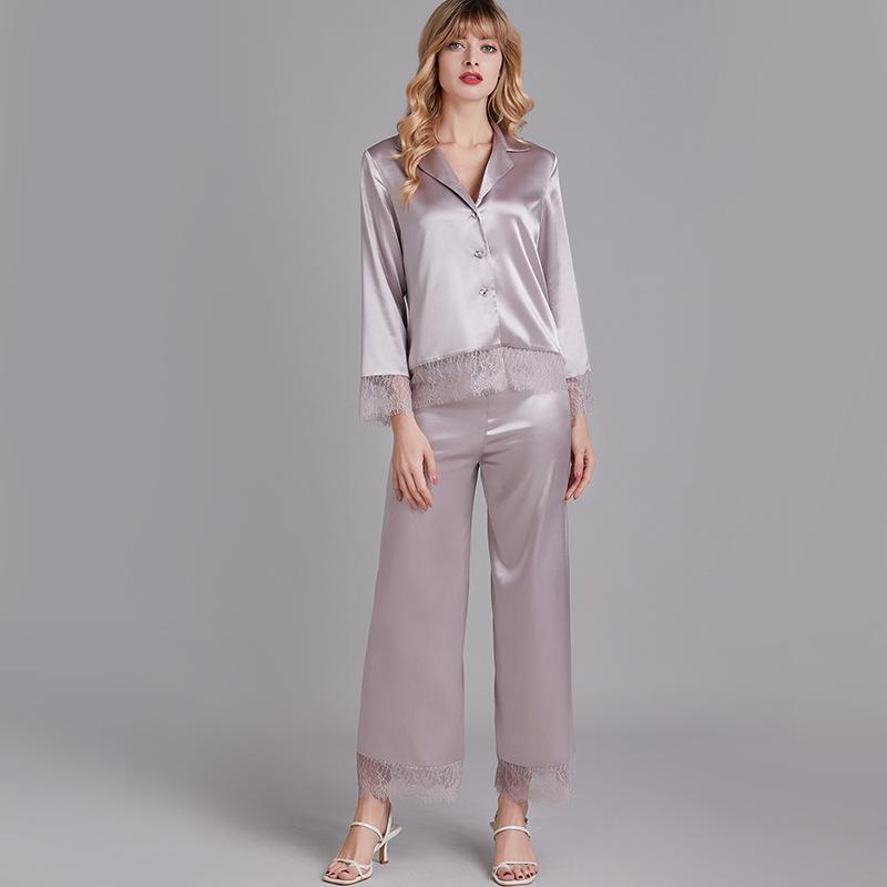 Lisacmvvnel primavera nuevo pijama set mujer seda de hielo manga larga ocio cardigan lace traje pijamas