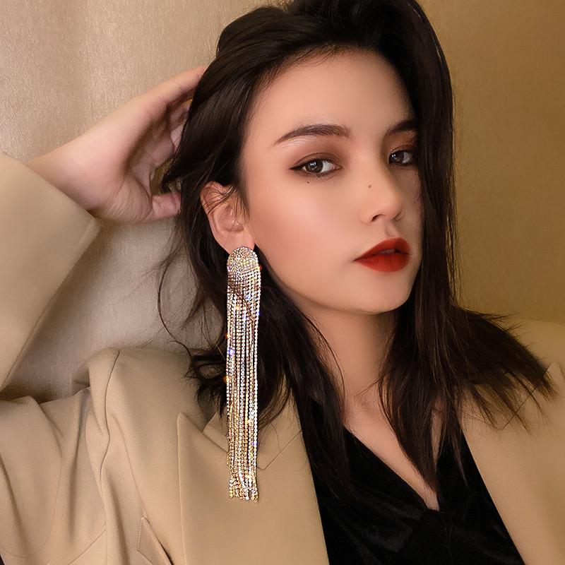 Dangle Orecchini Long Tassel Full Rhinestone Goccia Orecchino per le donne OVSize Crystal Fashion Lady Gioielli Accessori regalo