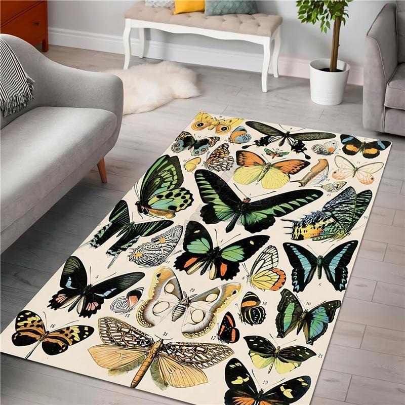 Carpets Butterfly Rug 3D All Over Printed Carpet Mat For Living Room Doormat Flannel Print Bedroom Non-slip Floor 01