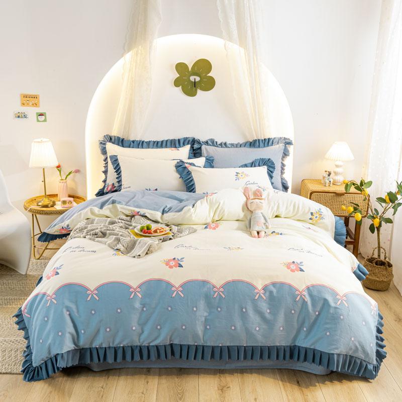 Conjuntos de ropa de cama Conjunto de volantes azules Cubierta de edredón Hoja plana Pillowcases Casas de reina doble Ropa de cama para niñas