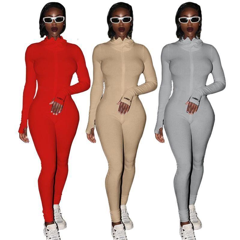Streetwear 화이트 니트 섹시한 보디 콘 럭키 레이블 Jumpsuit 여성 전반적인 2021 긴 소매 스키니 rompers 여성 여성