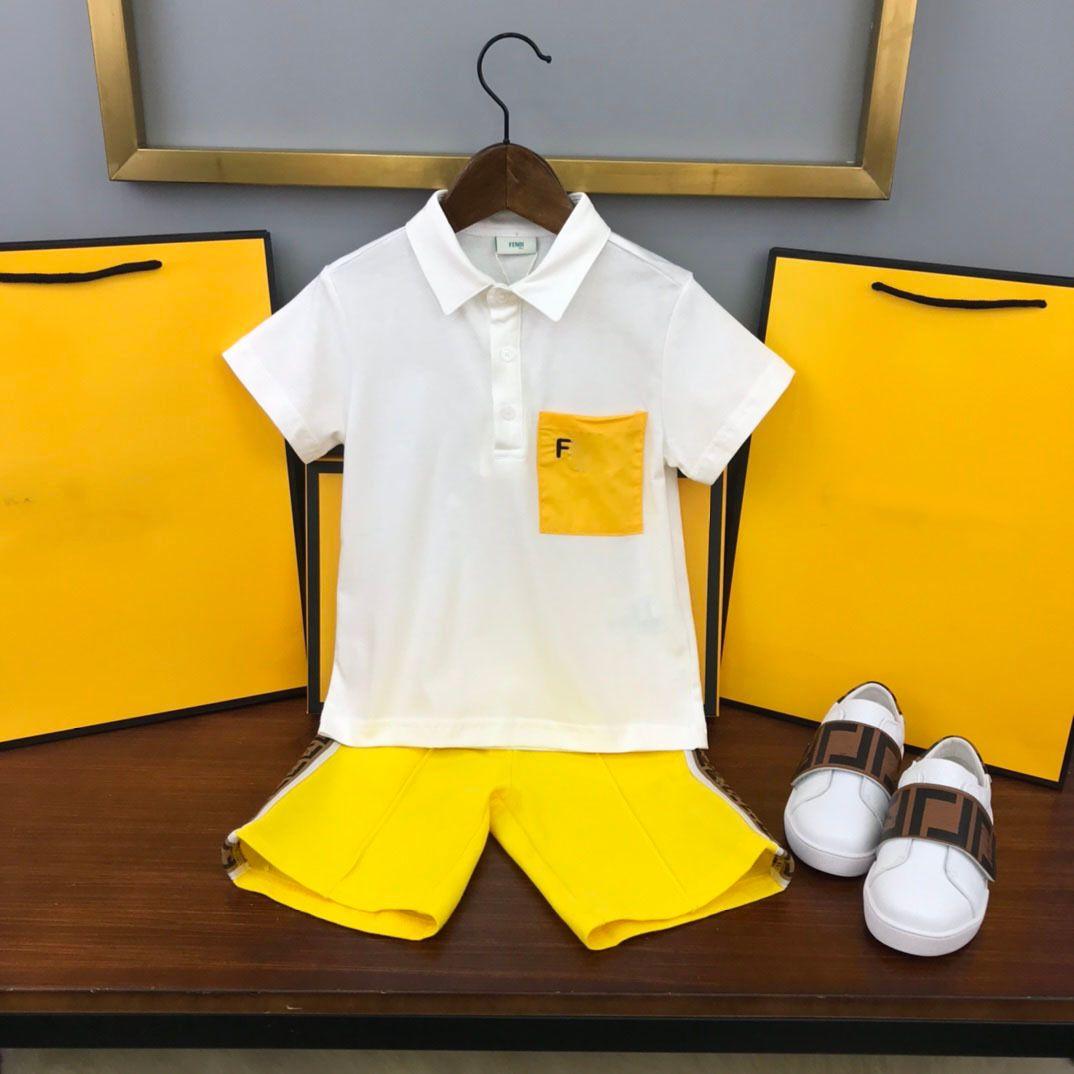 مصممي الأزياء ملابس الاطفال مجموعات فين الصيف ملابس الطفل طباعة الفتيان قمصان البولو كبيرة ff جودة الصبي قصيرة مجموعة الرجعية الأطفال البدلة الرياضة