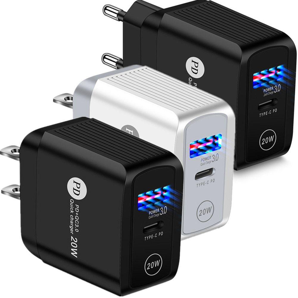 유형 C 충전기 20W EU US UK AC QUIVE PD QC3.0 iPhone 11 12 Pro Max Note10 노트 10 Plus S10