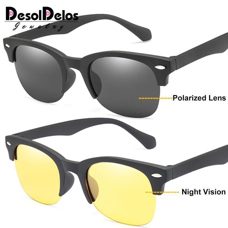 Desoldelos Yarı-Çerçevesiz Polarize Güneş Gözlüğü Erkekler Kadınlar Yuvarlak Ayna Güneş Gözlükleri Sürüş Klasik Oculos Feminino UV400 için