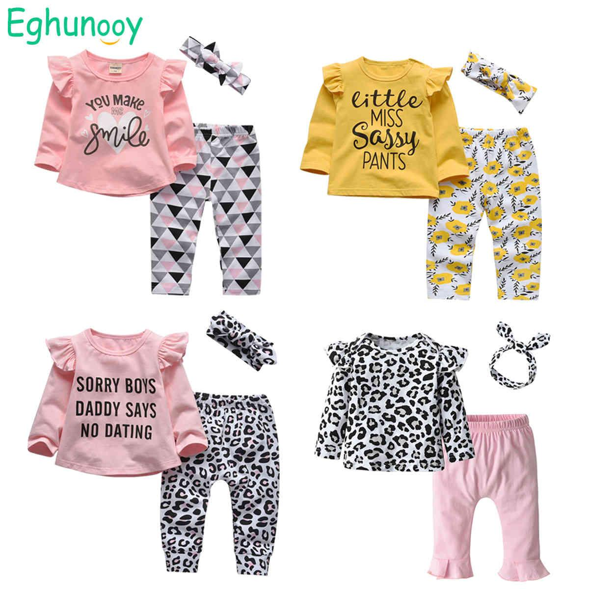 Cute Cats Baby Girls Dressing Set Newborn Baby Letter Long Mouwen Tops And Casual Print Broek Headband Baby Outfits 210429