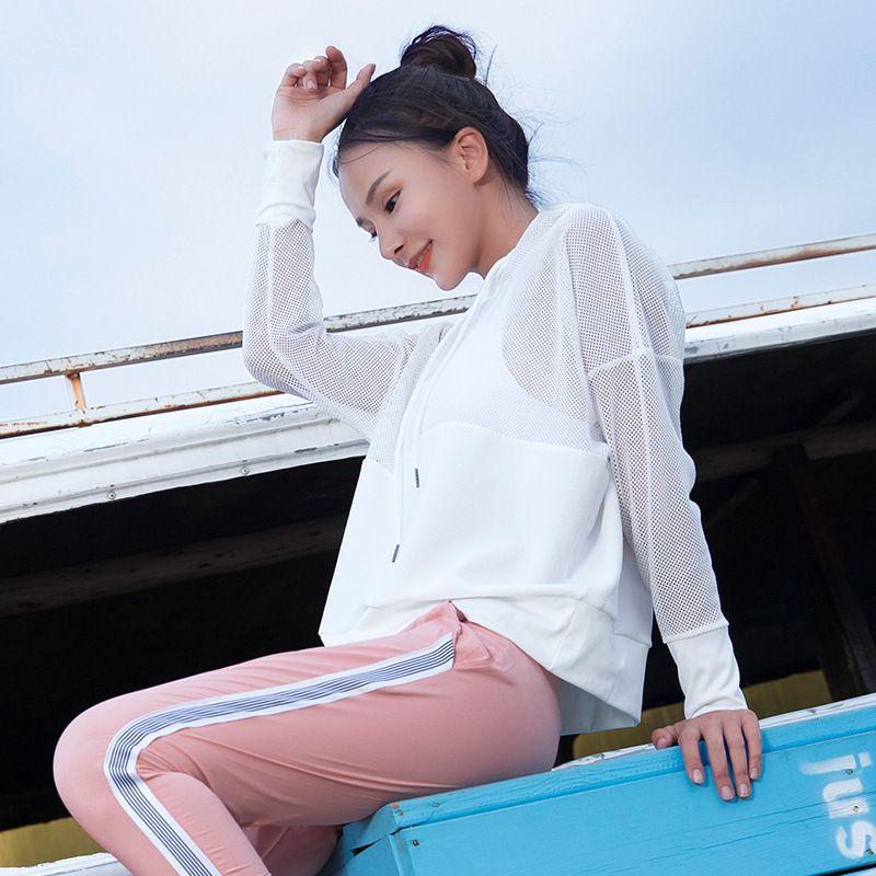 Blesskiss Mesh Yoga Top Sport Shirt Fitness Mujeres Verano con capucha de manga larga deportes Desgaste para las señoras Entrenamiento Gimnasio T Shirt