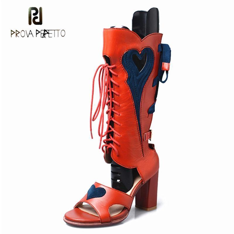 Prova Perfetto Hakiki Deri Karışık Renk Çapraz Bağlı Gladyatör Sandalet Kadın Yaz Çizmeler Kalp Patten Yüksek Topuk Elbise Ayakkabı