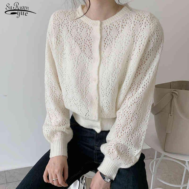 Cardigan tricoté creux blouses femmes femmes décontractées lanterne manches longues chemises femmes solides hauts élégants blusa féminina 9824 210518