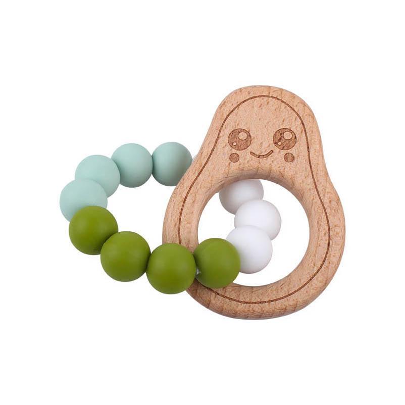 Baby Pacifiers Natural Wooden Silicone Teething Beads Teether Infant Feeding Newborn Teeth Practice Toys Diy Cartoon B5419
