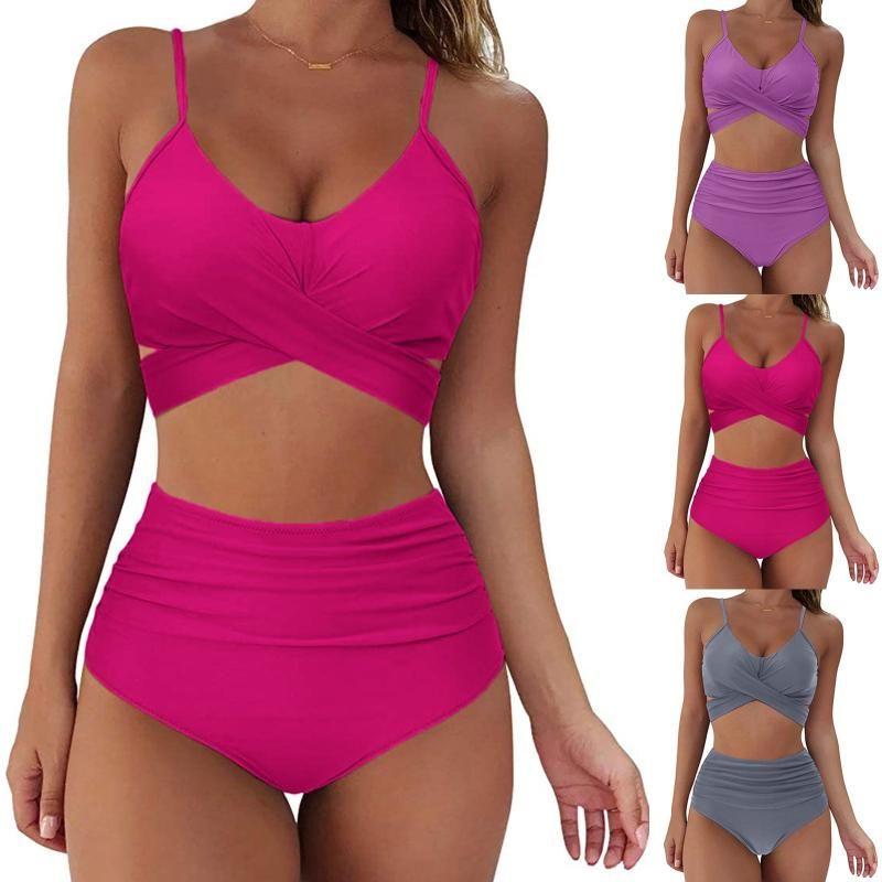 Women Sexy Soild Print Bikini Set Push Up Bathing Swimwear High Waist Swimsuit Suits Tankini Swimsuits Women's