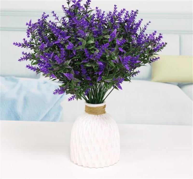 인공 라벤더 꽃 식물 6 조각, 저항 가짜 관목 녹지 덤불 꽃다발 밝게 가정 K 장식 2019 V2