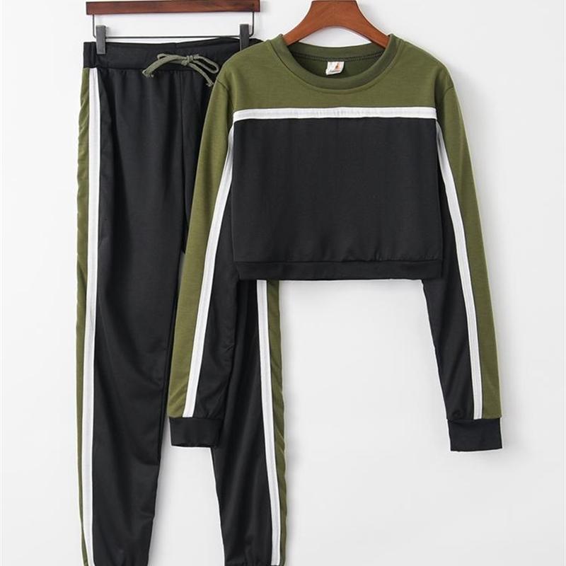 Verde Red Contrast Color 2 Pezzo Set 2021 Estate Donne Cotton O Neck Short Felpa + Pantaloni Set Donne Moda Sportwear Sportswear Suits Tute