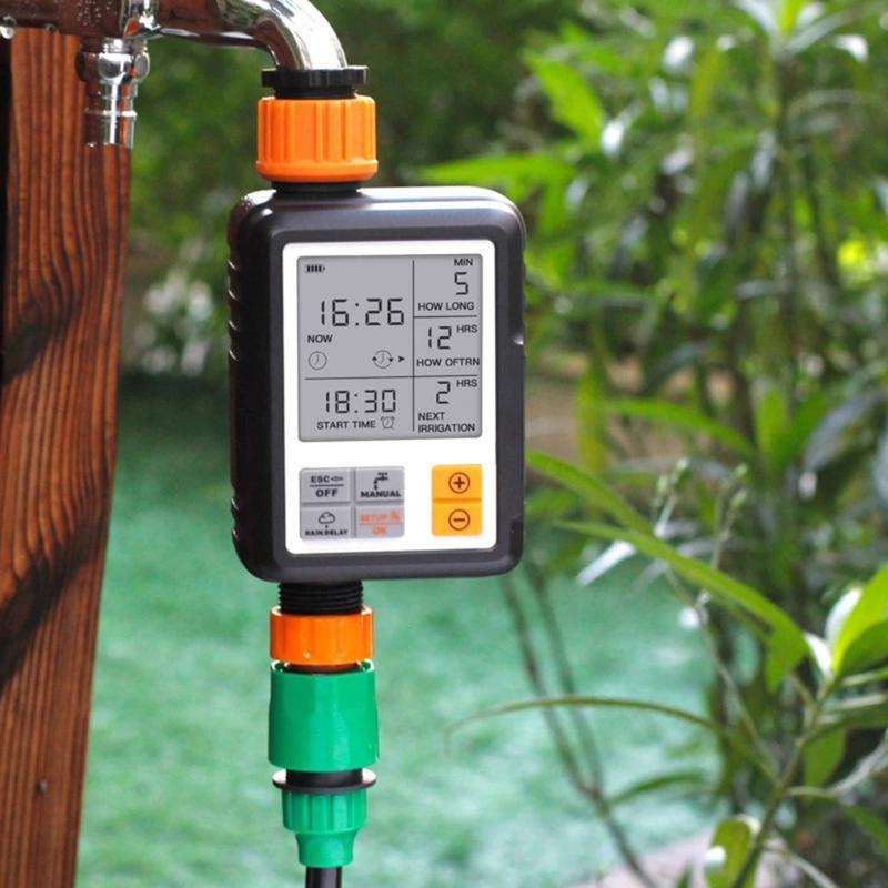 Automatic Programmable Digital Water Timer Large Screen Waterproof For Lawn Watering System Built-in Battery Irrigation Equipments