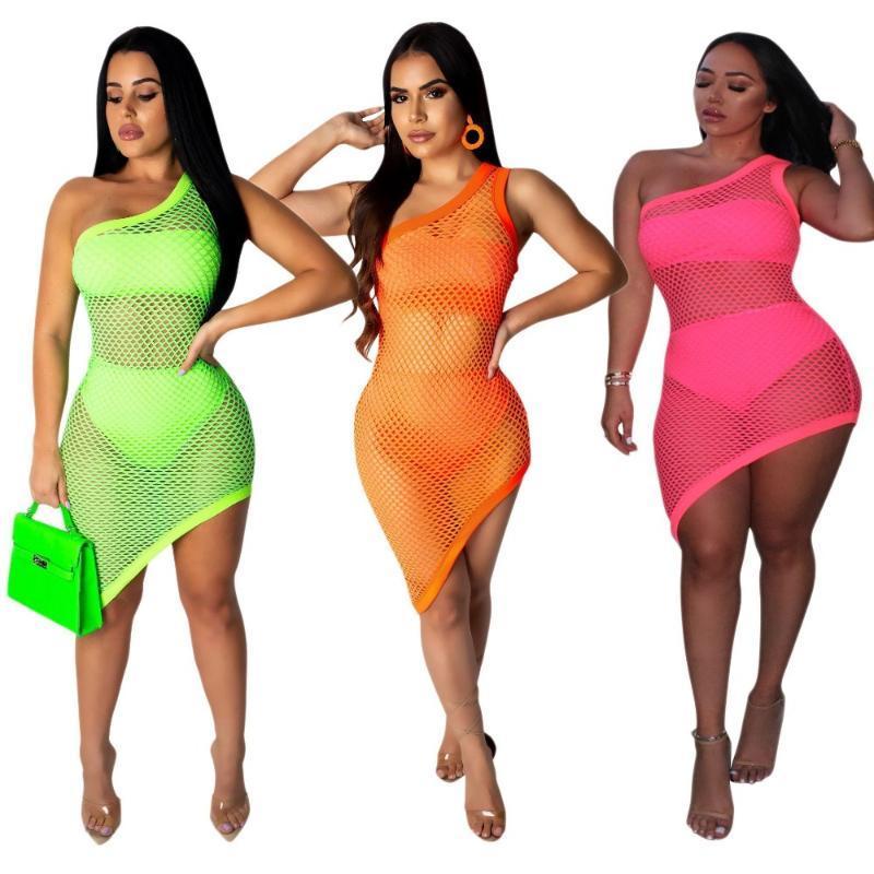 Floresan Yeşil Oymak Mayo Kapak UPS Katı Renk Kadınlar Skew Yaka Kapalı Omuz Kolsuz Gece Kulübü Plaj Etek Sarongs