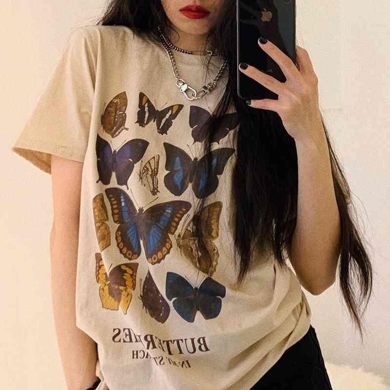 VIP HJN papillon T-shirt T-shirt Esthétique T-shirt T-shirt Femmes Harajuku Trévie graphique T-shirt Femme Butterfly 210406