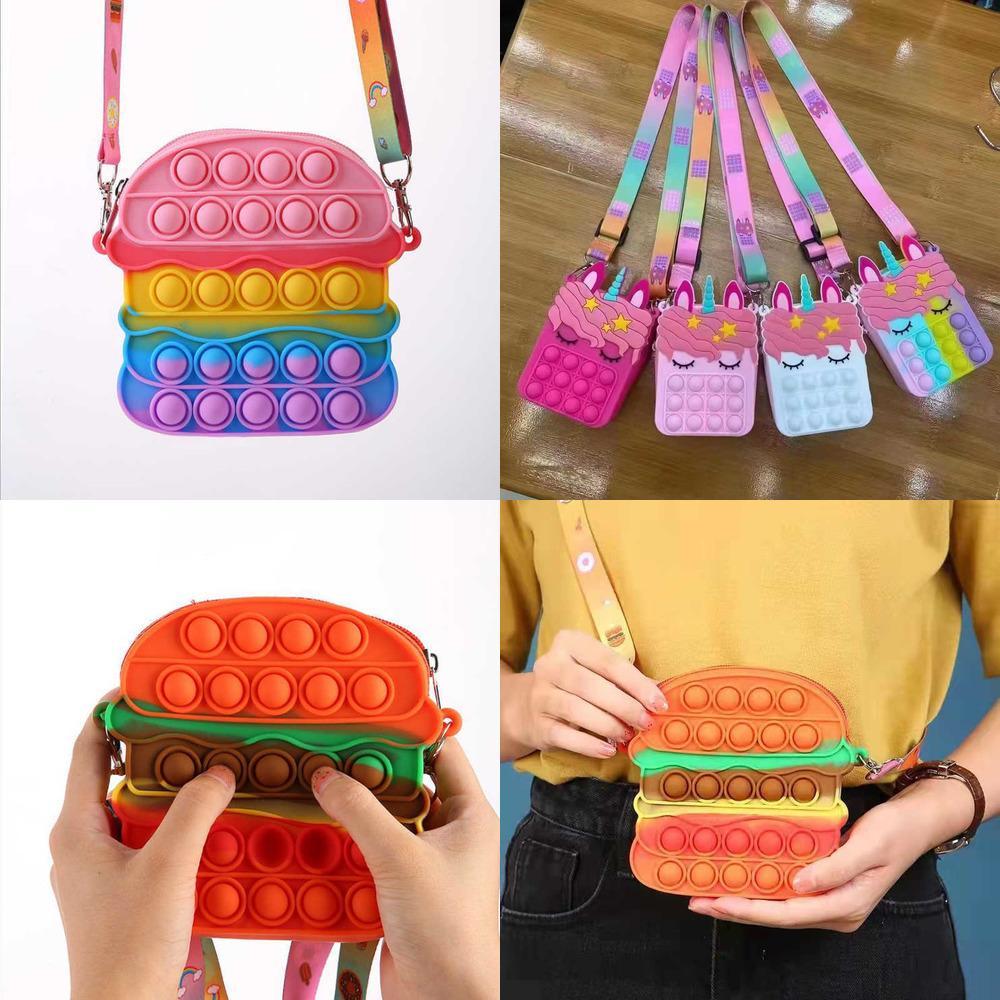 Kids Hamburger Unicorn Cartoon Fidget Chain Bag Poppet Bubble Toys Purses Backpack Crossbody Bags Push Pop Puzzle Board Boys Girls Christmas Party Gift G96KJQS