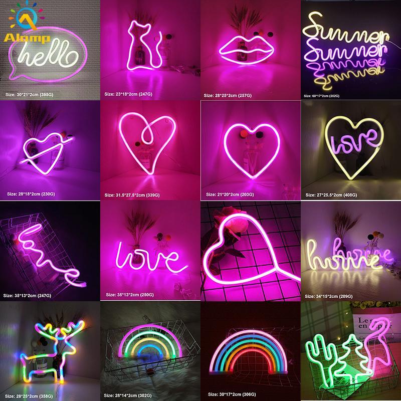 LED النيون تسجيل SMD2835 داخلي ضوء الليل الحب القلب قوس قزح القط إضاءة المنزل نموذج usb ديكورات الجدول مصابيح لقضاء عطلة عيد الميلاد