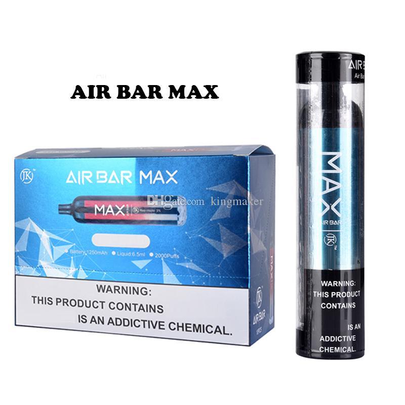 E Sigaralar Hava Bar Max Vape Kiti 2000 Puffs 1250mAh Tek Kullanımlık Batarya Kalemler 6.5ml Önceden doldurulmuş Pods Cihaz Airbar
