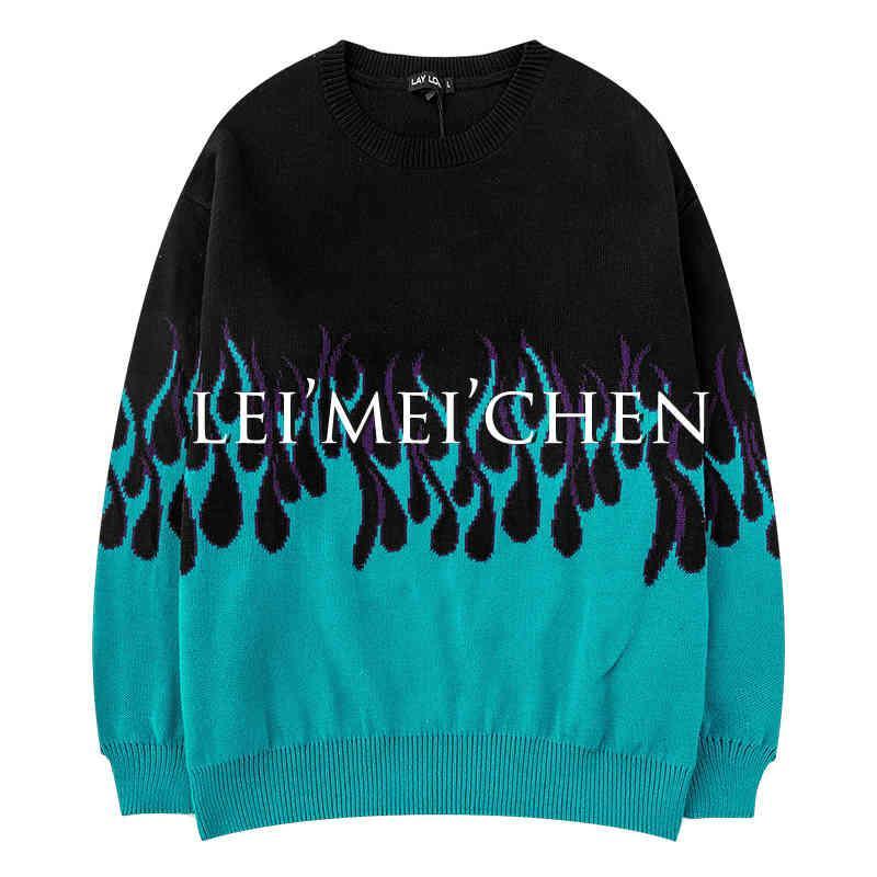 Leimeichen 2020 가을과 겨울 새로운 레트로 화염 인쇄 스웨터 남성 힙합 커플 느슨한 특대 여성의 BF3224CJ