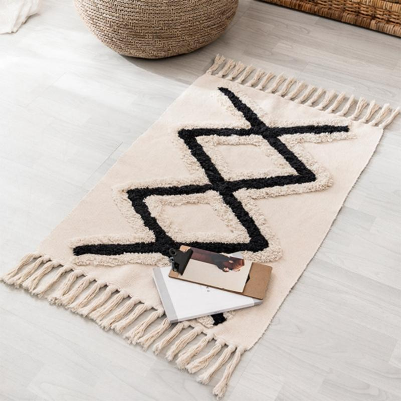 Bohemian Main Tissu Tassel Tassel Tassel Géométrique Home Decor Tapis