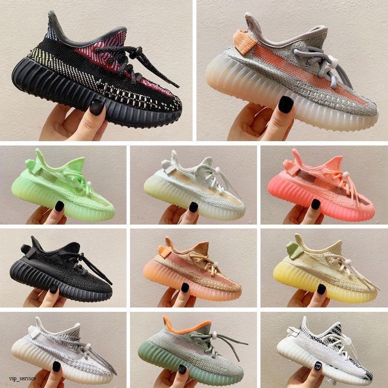Designers Kids Shoes 2021 Kanye Toddlers entraîneurs V2 Clay Noir Triple Triple White Antlia Enfants Sneakers Boys Filles Chaussure d'extérieur Athlétique Taille 25-35