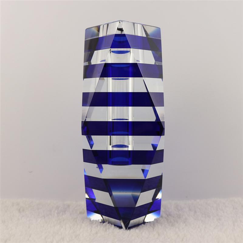 Bağlantı, Zincir 15 * 7.5 cm Kristal Vazo Siyah / Mavi Renk Ev Dekorasyon için