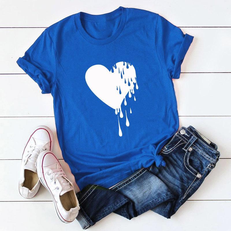 Toptan Rahat Gömlek Mektup Baskı Tisort Yuvarlak Boyun Pamuk Kısa Kollu Sevimli Camiseta Kadın T-Shirt