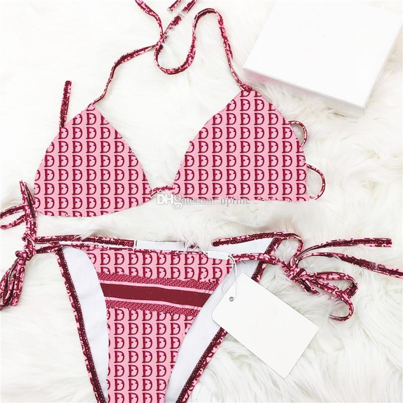 Sexy signore Bikini Set Designer Costume da bagno Costume da bagno Stampato Costumi da bagno stampati Slipper Swimsuit Split per il nuoto