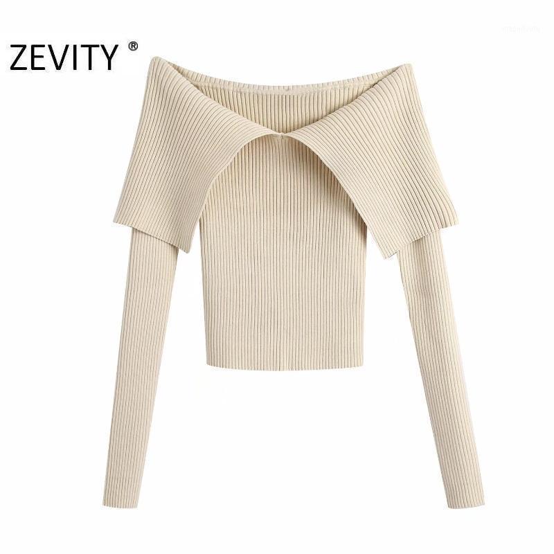 Zevity Nuove Donne Sexy Slash Neck Color Solido Slim Maglia Maglione Femme Chic Basic Manica lunga Manica lunga Pullover casual Brand Top S4771
