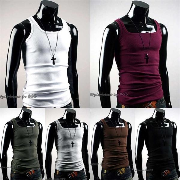 Atacado - Hot vendendo homens t-shirt verão undershirt mens camiseta A-shirt esposa beater fatazes colete muscular novo moda nova