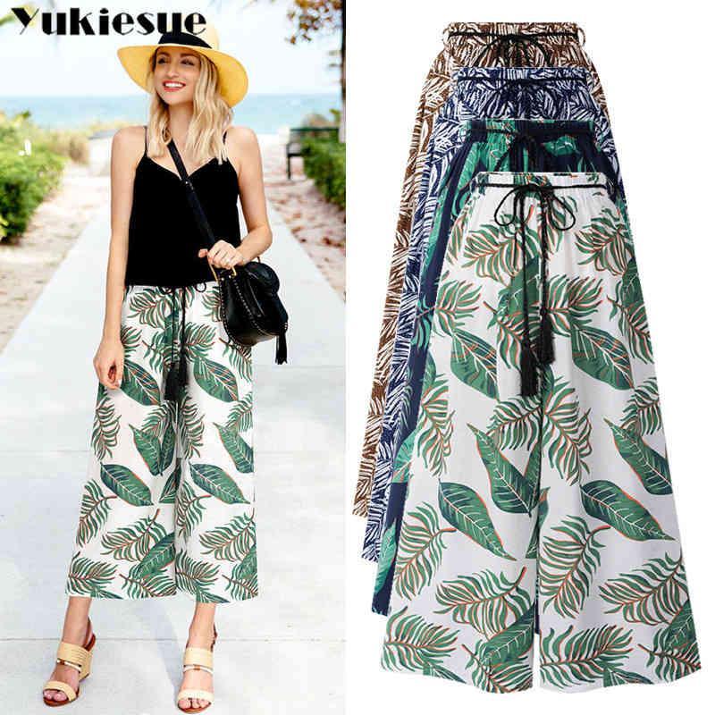 Hohe Taille Hosen für Frauen lose ol office gedruckt breite beinhose weibliche hosen stromwear frauen pantalon femme plus größe 210412