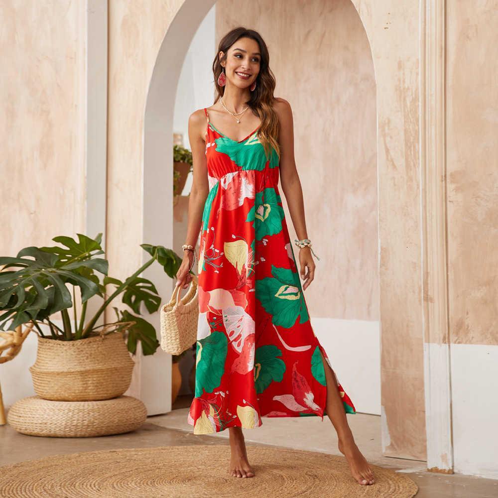 2021 Vestidos urbanos de verano Suspender de impresión casual
