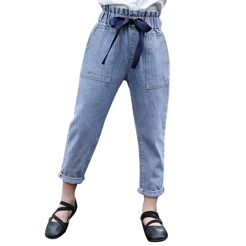 Chicas Jeans Big Bow Kids Cintura alta Ropa de estilo casual para 6 8 10 12 14