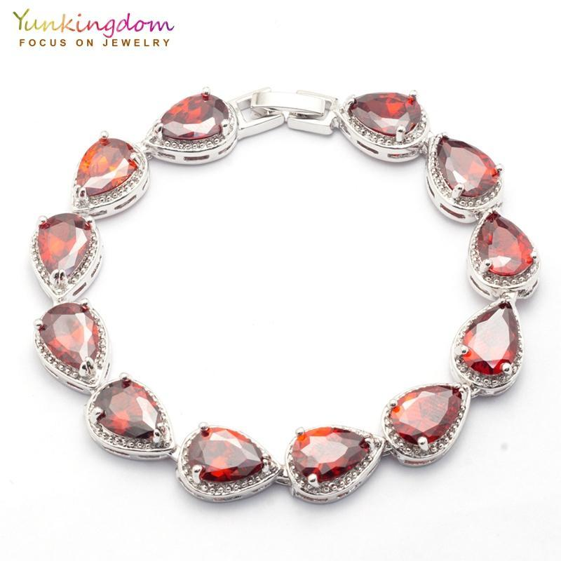 Braccialetti di cristallo yunkingdombangle per le donne rosse Goccia d'acqua rossa Zircone Braccialetto di gioielli da sposa Braccialetto