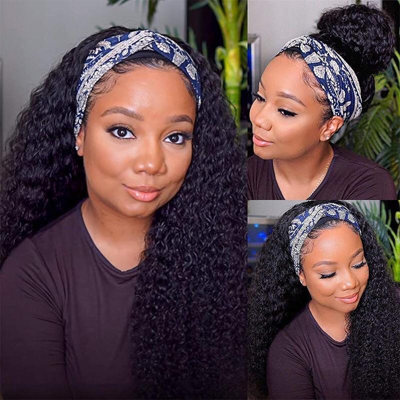 Perruques de cheveux Head Bande sans glutage Perruques de cheveux humains pour femmes noires Vague profonde Aucune dentelle Perruques avant Perruques naturelles Perruques de 150% de la densité